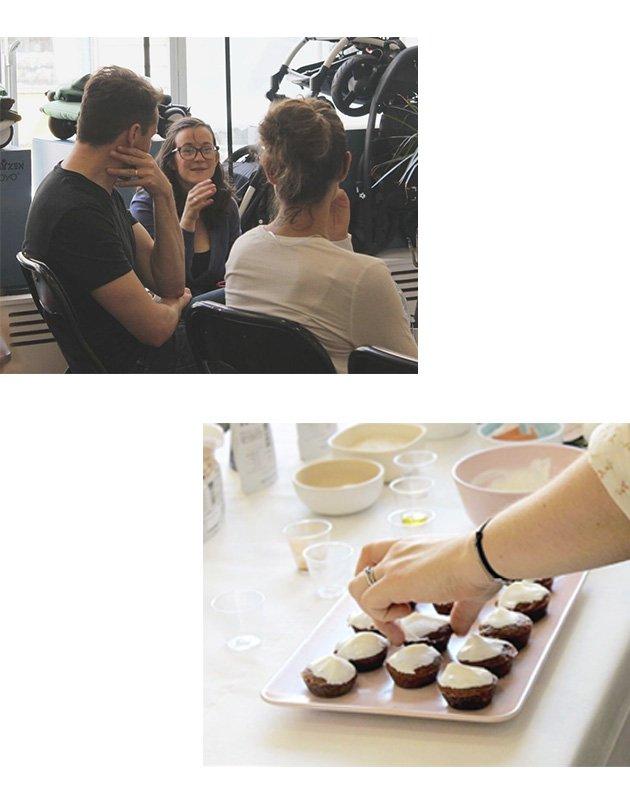 Photos des clients Popote venus à notre atelier diversification alimentaire chez WOMB et photos de nos muffins framboise-pomme réalisés avec nos popotes