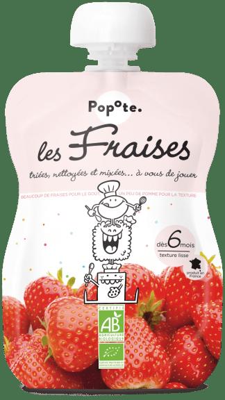 Gourde de compote de fraises pour bébé bio