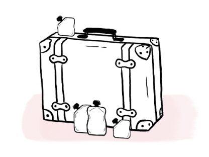 Illustration valise pour bébé et gourdes purées popote